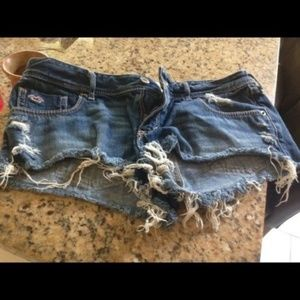 Womens HOLLISTER Destroyed Blue Jeans Shorts s